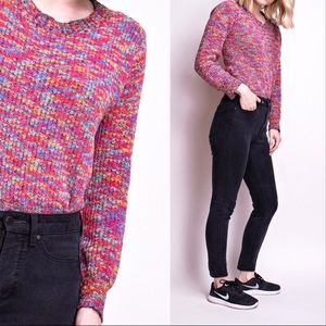 Vintage 90s rainbow ribbed knit crop sweater